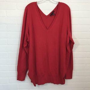 NWOT Lane Bryant Sweater Sz 26/28 V Neck Red